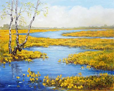 Spring Painting - Marsh Marigold - Spring by Irek Szelag