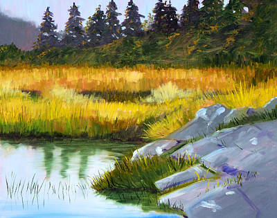 Oregon Coast Wall Art - Painting - Marsh by Nancy Merkle