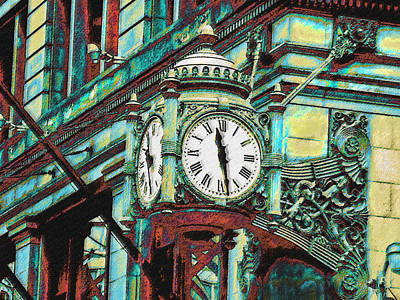 Digital Art - Marshall Fields Clock Chicago by Jane Schnetlage