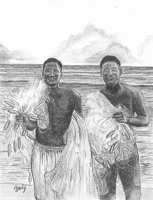 Drawing - Marshall Islands Fishermen by Lew Davis