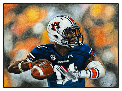 Quarterbacks Drawing - Marshall Law by Lance Curry