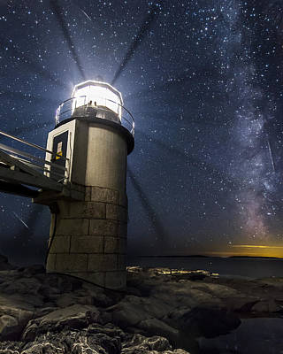 Photograph - Marshall Lighthouse And The Night Sky by John Vose