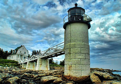 Marshall Point Light From The Rocks Print by Carolyn Fletcher