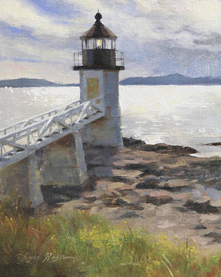 New England Lighthouse Painting - Marshall Point Lighthouse by Anna Rose Bain
