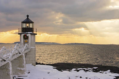 Winter In Maine Photograph - Marshall Point Lighthouse In Winter Maine  by Keith Webber Jr