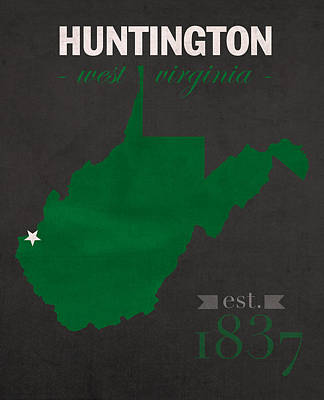 West Virginia University Mixed Media - Marshall University Thundering Herd Huntington West Va College Town State Map Poster Series No 060 by Design Turnpike