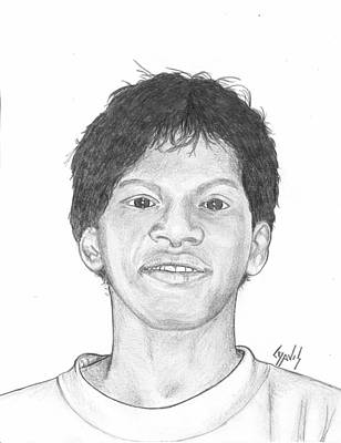 Drawing - Marshallese Boy 5 by Lew Davis