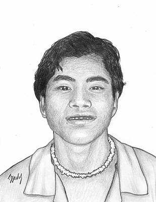 Drawing - Marshallese Boy 6 by Lew Davis