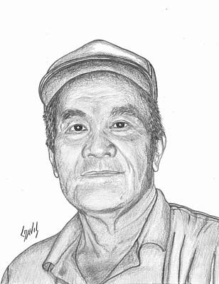 Drawing - Marshallese Man With Cap by Lew Davis