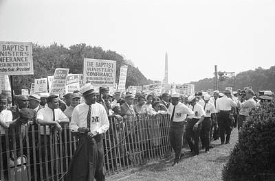 Marshals Standing By Fence Near Crowd Art Print