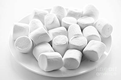 Chewy Photograph - Marshmallows On Plate by Elena Elisseeva