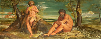 Olympus Painting - Marsyas And Olympus by Annibale Carracci