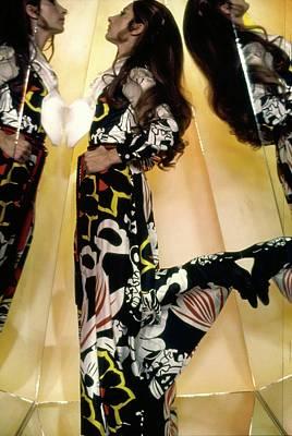 Photograph - Marta Montt Wearing A Floral Dress by Raymundo de Larrain
