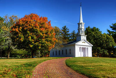 Martha Mary Chapel In Autumn Print by Donna Doherty