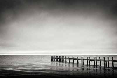 Black And White Photograph - Martha's Vineyard - Jetty And Horizon by Alexander Voss