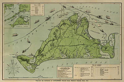 Old Map Photograph - Martha's Vineyard 1913 by Andrew Fare