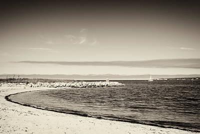 Marthas Vineyard Photograph - Martha's Vineyard - Beach And Sailboat Black And White by Alexander Voss