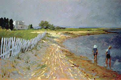 People On Beach Wall Art - Painting - Marthas Vineyard  by Sarah Butterfield