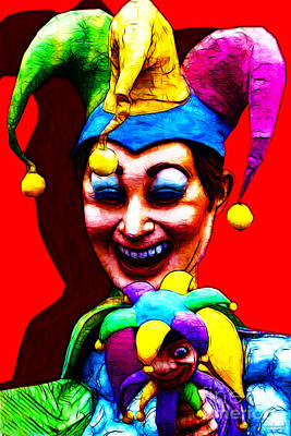 Whim Digital Art - Marti Gras Carnival Clown 20130129v1 by Wingsdomain Art and Photography