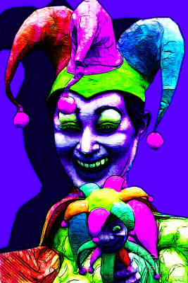 Jester Digital Art - Marti Gras Carnival Clown 20130129v3 by Wingsdomain Art and Photography