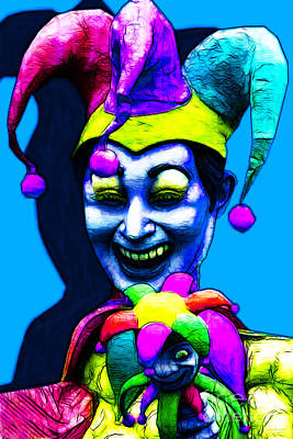 Jester Digital Art - Marti Gras Carnival Clown 20130129v4 by Wingsdomain Art and Photography
