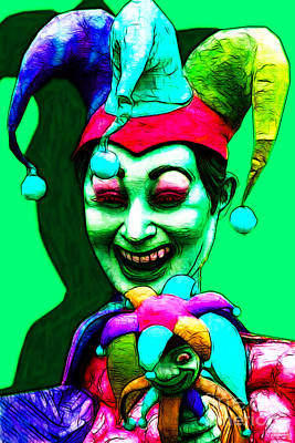 Jester Digital Art - Marti Gras Carnival Clown 20130129v5 by Wingsdomain Art and Photography