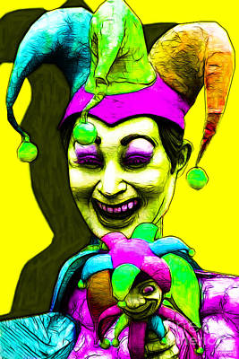 Jester Digital Art - Marti Gras Carnival Clown 20130129v6 by Wingsdomain Art and Photography