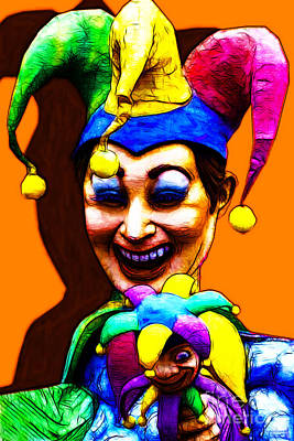 Jester Digital Art - Marti Gras Carnival Clown 20130129v7 by Wingsdomain Art and Photography