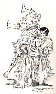 Kung Fu Drawing - Martial Artist by David Garren