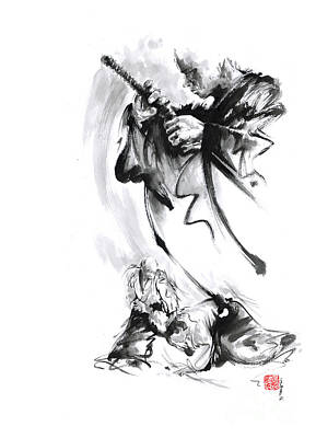 Ink Painting - Martial Arts Japan Warrior Aikido Poster. by Mariusz Szmerdt