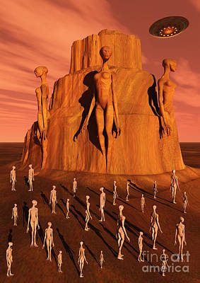 Arid Life Digital Art - Martians Gathering Around A Monument by Mark Stevenson