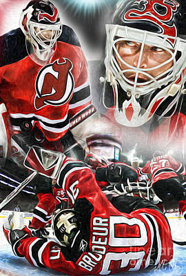 New Jersey Devils Wall Art - Painting - Martin Brodeur Collage by Mike Oulton