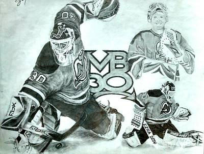 New Jersey Devils Wall Art - Drawing - Martin Brodeur by Ezra Strayer