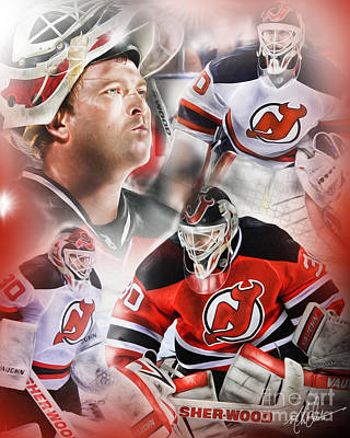 New Jersey Devils Wall Art - Painting - Martin Brodeur by Mike Oulton