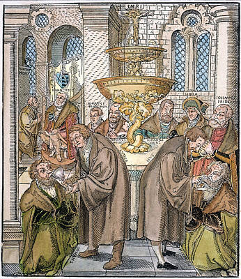 Communion Painting - Martin Luther & Jan Hus Giving by Granger