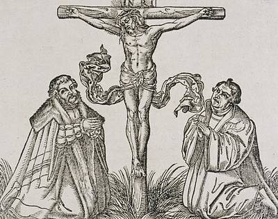 Theologians Drawing - Martin Luther And Frederick IIi Of Saxony Kneeling Before Christ On The Cross by German School