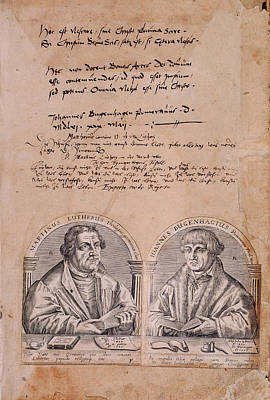 Protestant Photograph - Martin Luther And J. Bugenhagius by British Library