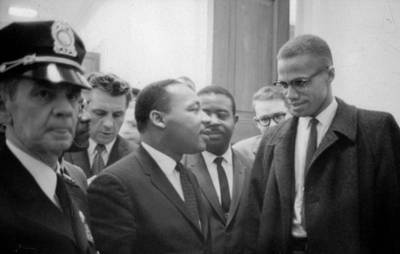 Press Conference Photograph - Martin Luther King Jnr 1929-1968 And Malcolm X Malcolm Little - 1925-1965 by Marion S Trikoskor