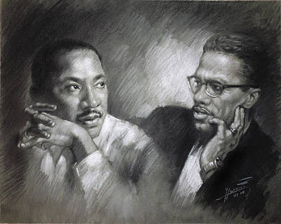 African American Drawing - Martin Luther King Jr And Malcolm X by Ylli Haruni