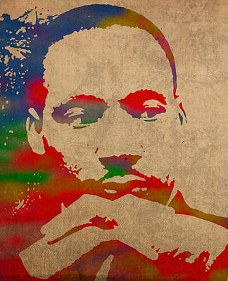 Martin Luther King Jr Watercolor Portrait On Worn Distressed Canvas Art Print by Design Turnpike