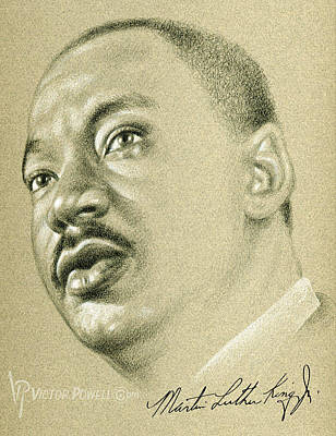 Drawing - Martin Luther King Pencil Portrait by Victor Powell