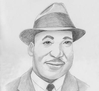 Drawing - Martin Luther King Sketch by M Valeriano
