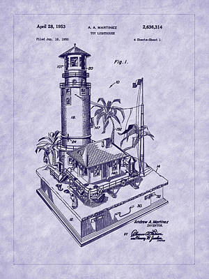 Photograph - Martinez 1953 Lighthouse Patent Art by Barry Jones