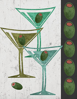 Happy Hour Wall Art - Painting - Martini And Olives I by Shanni Welsh