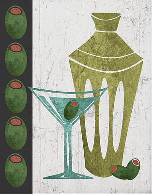 Happy Hour Wall Art - Painting - Martini And Olives II by Shanni Welsh