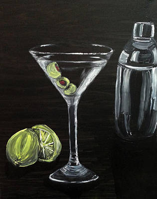 Stemware Painting - Martini by Deb Wolf