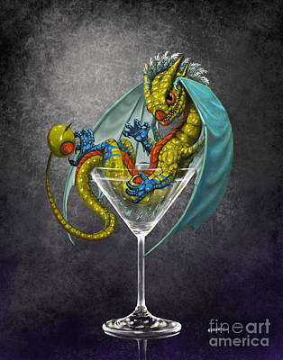 Martini Dragon Art Print