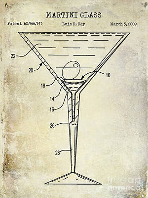 Shakers Photograph - Martini Glass Patent Drawing by Jon Neidert