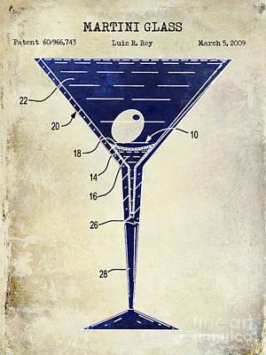 Martini Glass Patent Drawing Two Tone  Art Print by Jon Neidert