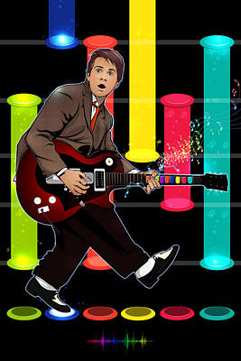 Dr. J Digital Art - Marty Mcfly Plays Guitar Hero by Akyanyme